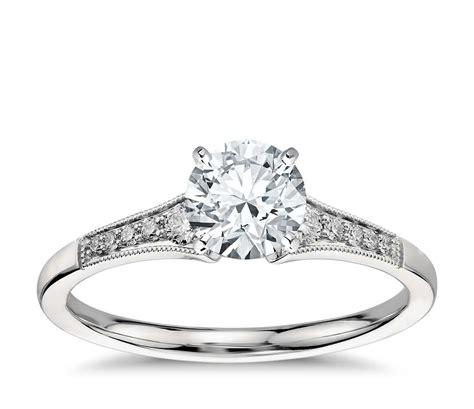 graduated milgrain diamond engagement ring in platinum 1 10 ct tw blue nile