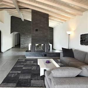 tapis haut de gamme kilim patchwork gris laine et coton With tapis kilim avec canapé haut de gamme sur mesure