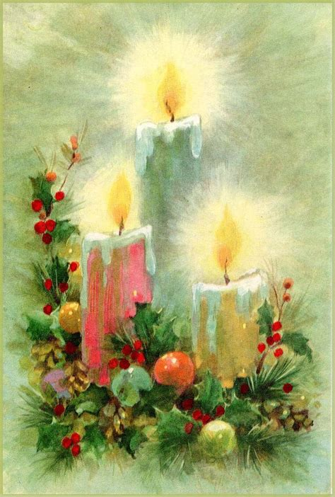 christmas candles midcentury retro greeting card