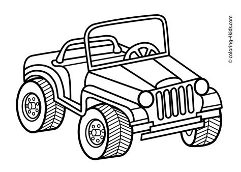 safari jeep coloring page jeep transportation coloring pages for kids printable