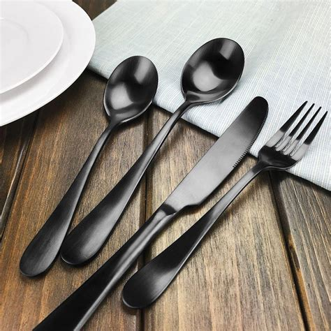 stainless steel flatware sets dinnerware spoon fork wedding dinner knife gift shipping kit party matte offers offer
