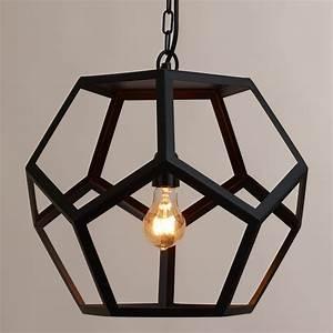 Black, Metal, Hexagon, Pendant, Lamp
