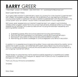 assistant superintendent cover letter sle livecareer