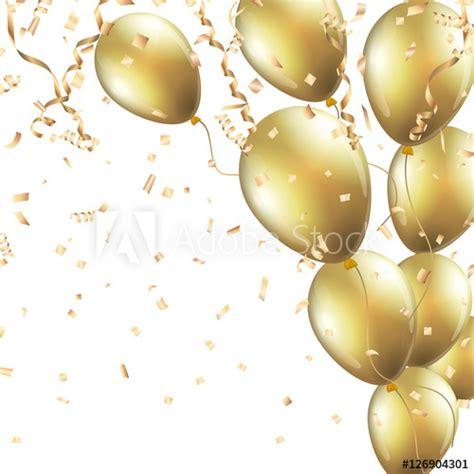 festive background  gold balloons  confetti vector