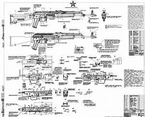 Wts  Soviet Akm Blueprints Signed By Kalashnikov  1960s