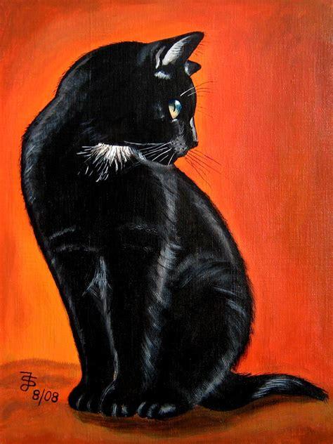 acrylbild schwarze katze    cm maler steffi