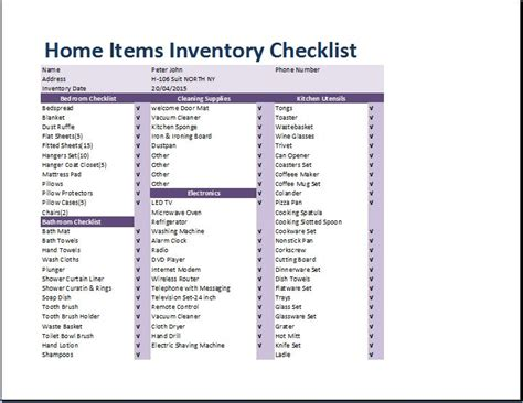 Comprehensive Home Inventory Checklist Template | Word ...