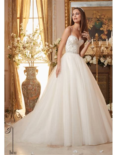 Mori Lee 5463 Ivory Crystal Beaded Tulle Ball Gown Wedding