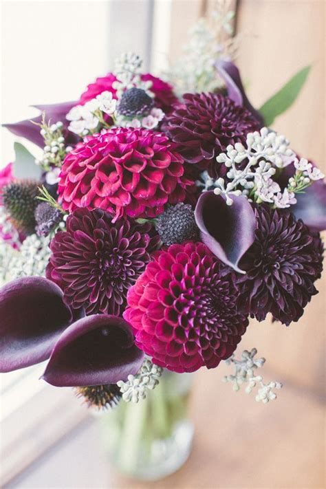 purple wedding bouquet  fall weddings deer pearl flowers