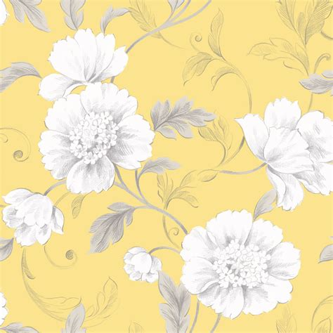 Yellow And Grey Floral Wallpaper  Top Backgrounds