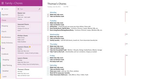 onenote section template living with onenote family edition office blogs