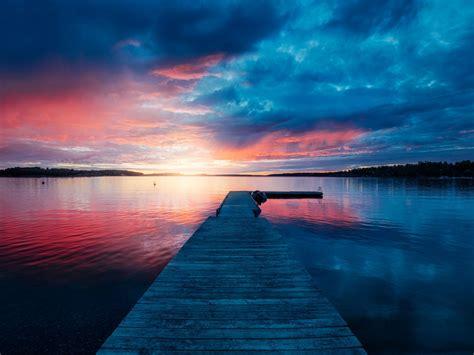 wallpaper landscape lake sunset stockholm archipelago