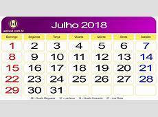 Calendário de Julho de 2018 webcid