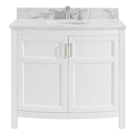 White Bathroom Vanity With Marble Top by Allen Roth Moravia 36 In White Single Sink Bathroom