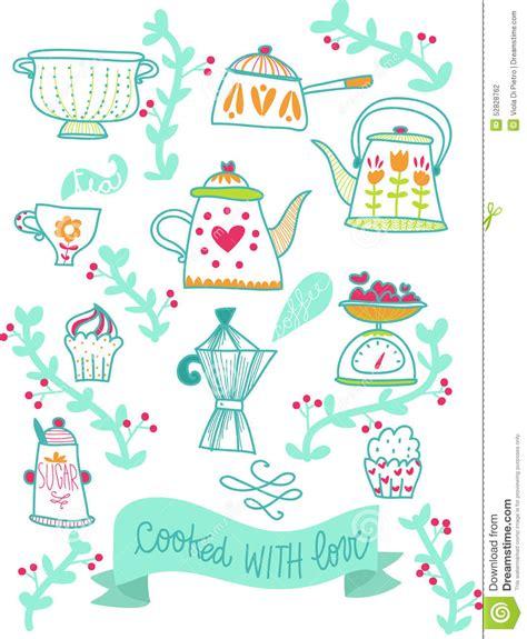 blogs recettes cuisine illustratie de recepten retro keuken stock illustratie