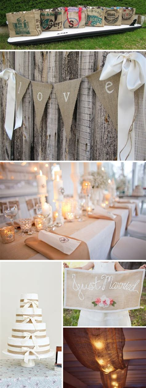 Burlap Reception Details  The Destination Wedding Blog