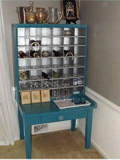 vintage post office mail sorter turned wine cabinet