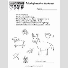 Following Directions Worksheet  Free Kindergarten Learning Worksheet For Kids