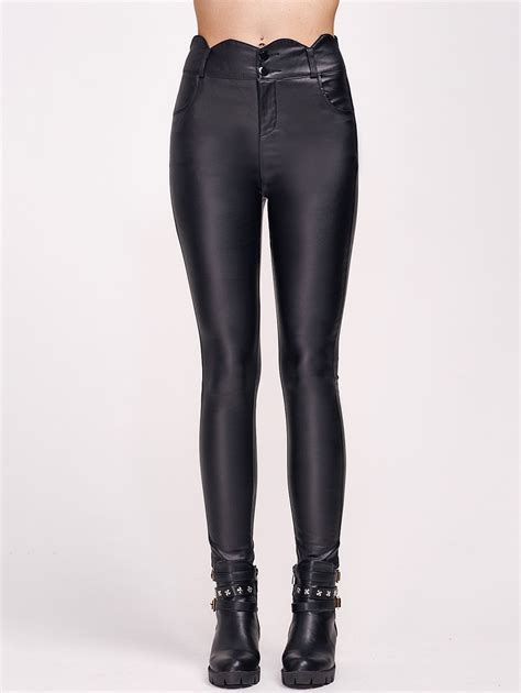 High Waist Faux Leather high waist scalloped faux leather in black