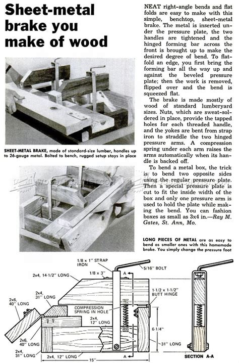 sheet metal brake plans woodworking tips  techniques