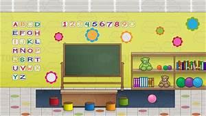 Cartoon Clipart: Inside A Preschool Classroom Background