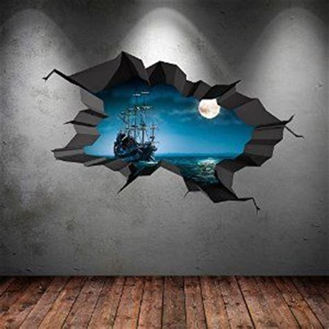 pirate ship sea cave porthole moon cracked  wall art