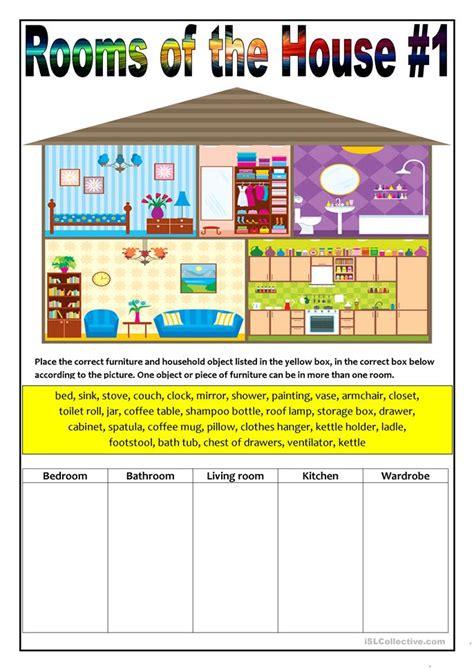 rooms   house worksheet  esl printable