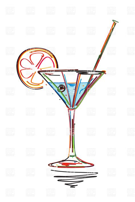 vintage cocktail party clipart symbolic cocktail with lime slice and straw styled