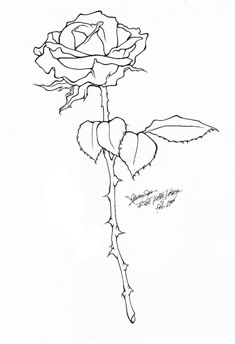 Rose Tattoo - Line Art by ~BloodyLuna on deviantART Line here used to create a contour (outline