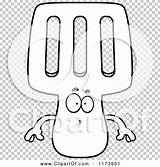 Spatula Coloring Mascot Surprised Outlined Clipart Cartoon Cory Thoman sketch template