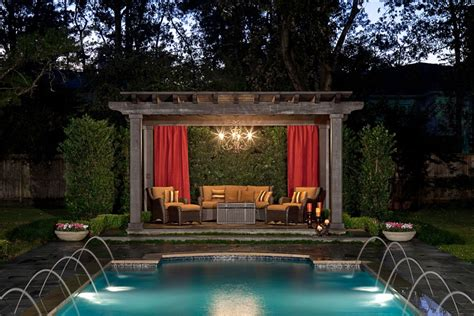 pool pergola designs pergola curtains your complete measuring guide