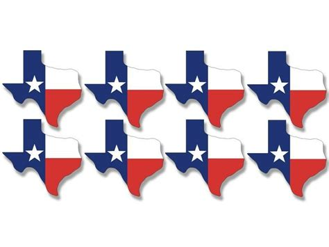Sheet Of 8 (1.5 X 1.5 Inch) Texas Shaped Tx Flags Stickers