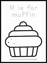 Muffin Coloring Letter sketch template