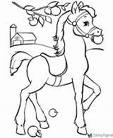 Horse Coloring Pages Tree sketch template