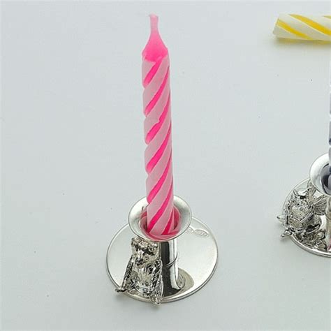 teddy bear birthday candle holder personalised sterling silver hallmarked