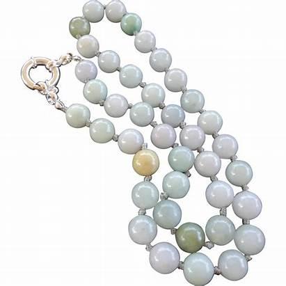 Jadeite Necklace Silver Clasp Sterling Round Rubylane