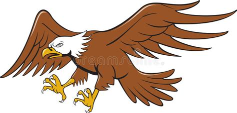 American Bald Eagle Swooping Cartoon Stock Illustration