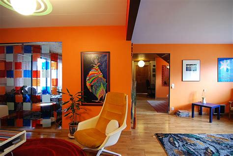modern house ideas of orange modern living room decoration
