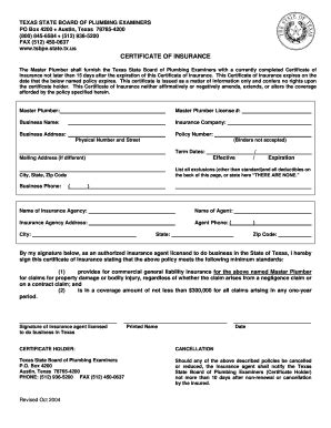 state board of plumbing fillable certificate of insurance form