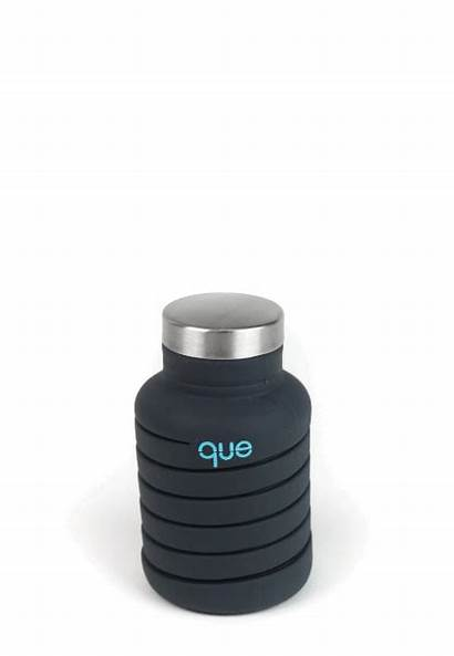 Bottle Water Que 20oz Charcoal Metallic Collapsible