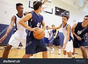Male High School Basketball Team Playing Stock Photo ...