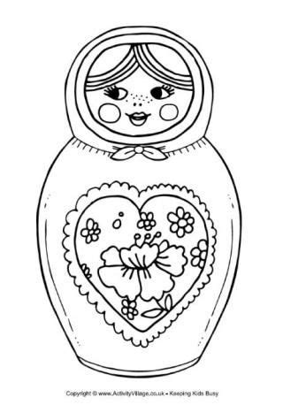 matryoshka doll colouring page  lots   russia coloring pages   nesting dolls