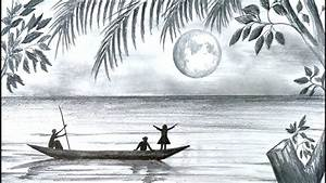 How To Draw Scenery Of Moonlight Night Scene With Pencil