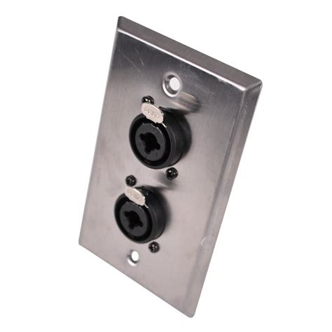 stainless steel wall plate dual    xlr combo jacks seismic audio