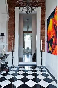 carrelage damier noir et blanc salle de bain photos With couleur de peinture pour couloir 17 le carrelage damier noir et blanc en 78 photos archzine fr