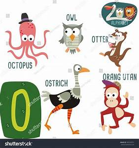 Cute zoo alphabet vector o letter stock vector 360243551 for Animals with the letter o in their name