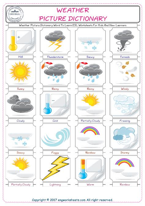 Weather Picture Dictionary Word To Learn Esl Worksheets For Kids And New Learners