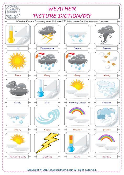 weather esl printable english vocabulary worksheets