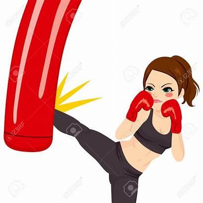 Boxing Punching Bag Clipart Woman Kick Kicking