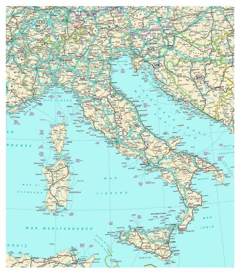 detailed road map  italy  cities italy europe